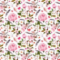 Peony flowers, sakura, feathers. Seamless floral pattern. Watercolor