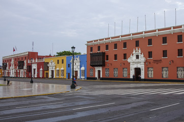 Colorful colonial houses in Trujillo downtown, Peru