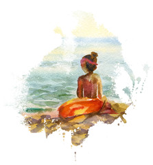 Watercolor seascape with girl