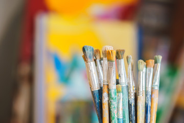 Paint Brushes isolated in colorful backgraund, clouse-up