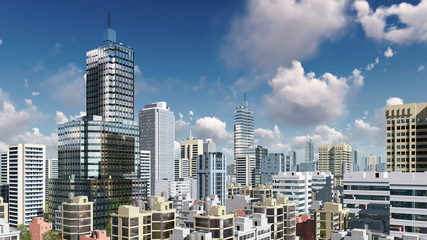 Modern high rise buildings skyscrapers in the heart of abstract city downtown against daytime sky with clouds. 3D illustration.