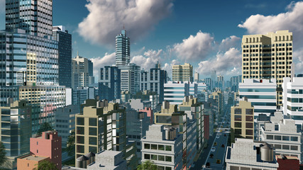 Aerial view of abstract big city downtown with modern high rise buildings skyscrapers and busy streets at daytime. 3D illustration.