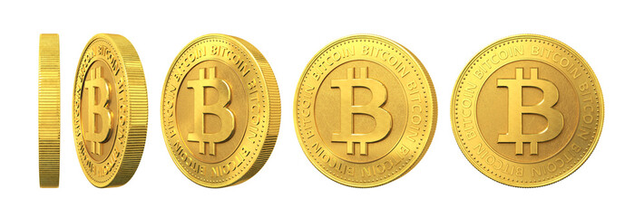 Set of gold coins with bitcoin sign isolated on a white backgrou