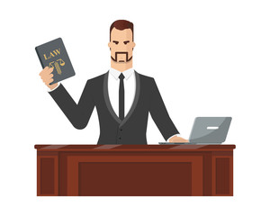 Advocate gives consultation to the client via the company's website referring to the law and the constitution. Vector illustration