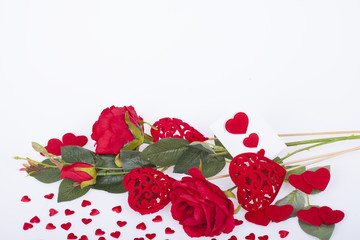 Red rose and red  hearts
