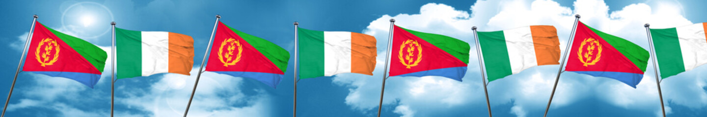 Eritrea flag with Ireland flag, 3D rendering