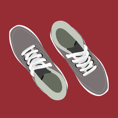 pair of stylish sneakers for running on red background, vector, illustration,
