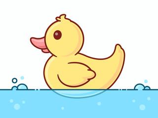 Rubber duck in water vector cartoon illustration