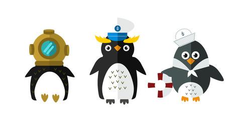 Penguin vector animal character illustration.