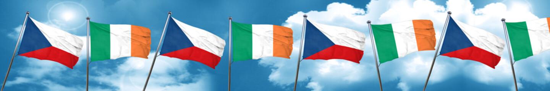 czechoslovakia flag with Ireland flag, 3D rendering