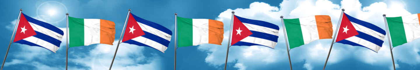Cuba flag with Ireland flag, 3D rendering