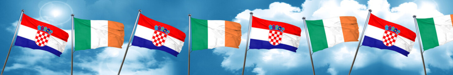 croatia flag with Ireland flag, 3D rendering