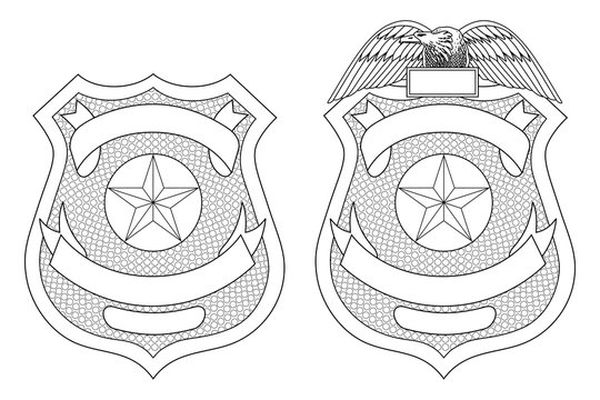Police Law Enforcement Badge or Shield is an illustration of a police or law enforcement badge with and without the eagle on top. Includes open space for your specific text.
