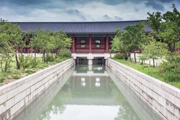 Detail of Gyeongbokgung Palace and garden, Seoul, Korea