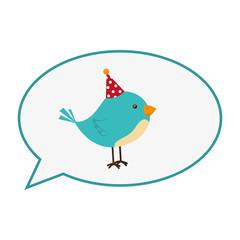 cute bird with speech bubble card icon vector illustration design