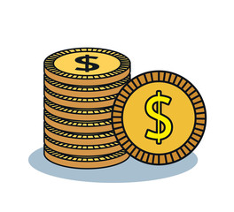 coin cash money flat icon vector illustration design