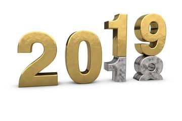 3D Text 2018 2019 Silber Gold - Jahreswechsel