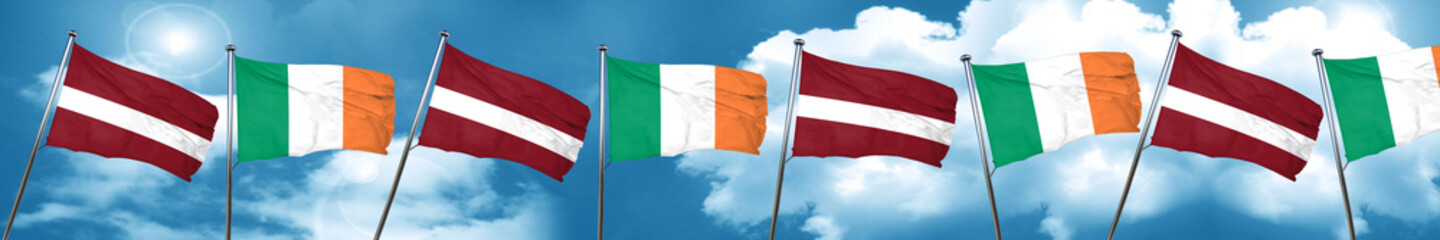 Latvia flag with Ireland flag, 3D rendering