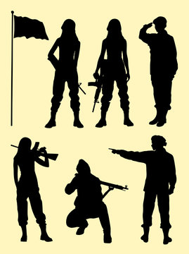 Female soldier gesture silhouette. Good use for symbol, logo, web icon, mascot, sign, or any design you want.