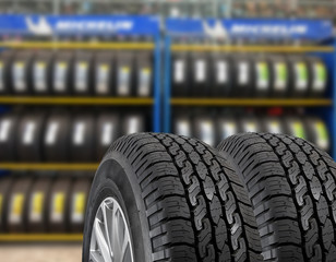 Tires showing for sell or fix in the shop