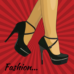 Vector illustration of female legs in retro fashion style