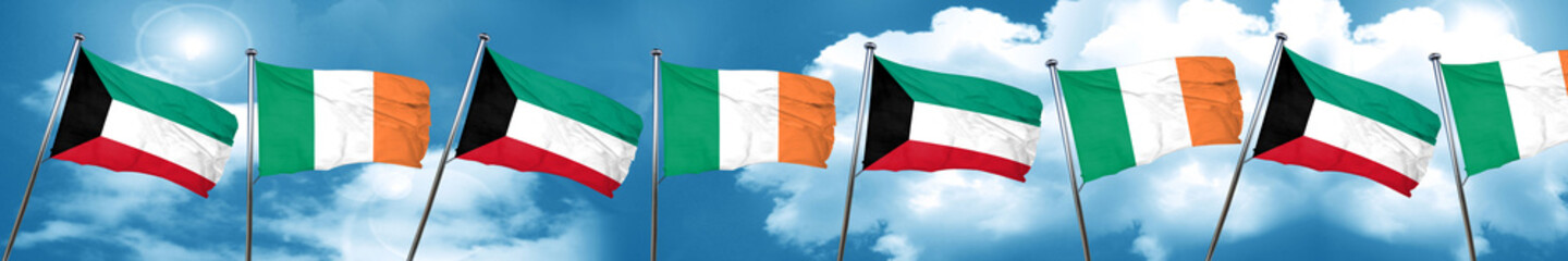 Kuwait flag with Ireland flag, 3D rendering