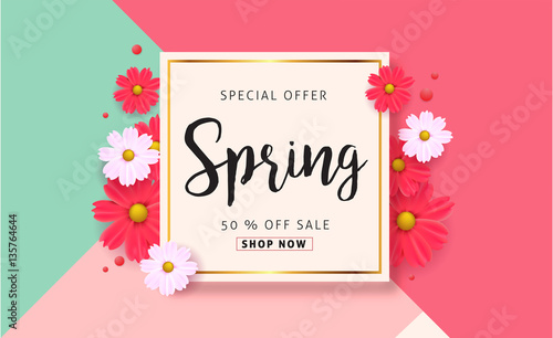 Spring sale background with beautiful colorful flower vector spring sale background with beautiful colorful flower vector illustrationnnerswallpaperers stopboris Image collections