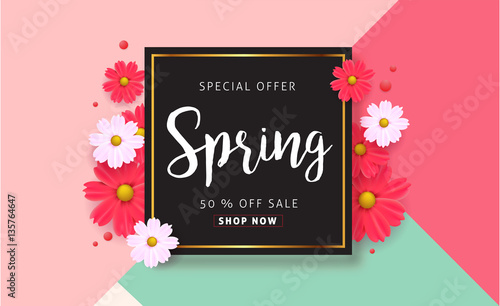 Spring sale background with beautiful colorful flower vector spring sale background with beautiful colorful flower vector illustrationnnerswallpaperers stopboris Choice Image