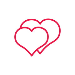 double hearts thin line red icon on white background, happy vale