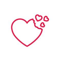 fly hearts thin line red icon on white background, happy valenti