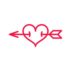 heart with arrow thin line red icon on white background, happy v
