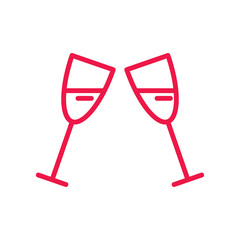 wineglasses thin line red icon on white background, happy valent