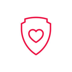 shield with heart thin line red icon on white background, happy