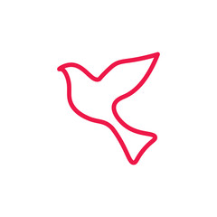 fly dove thin line red icon on white background, happy valentine