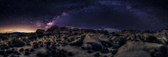 View of the Milky Way Galaxy at the Joshua Tree National Park.  The image is an hdr of astro photography photographed at night.  It depicts science and the divine heaven. Wall mural