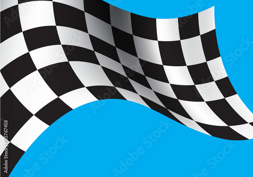 """""""Checkered flag flying on blue background vector ..."""
