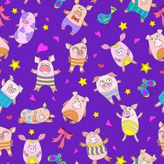 Seamless pattern with funny cartoon pigs on a purple background