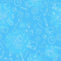 Seamless background on the topic of information technology and earn money online, simple hand-drawn contour icons,white outline on a blue background