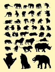 Koalas, lion, elephants, rhinoceros animal mammal silhouette. Good use for symbol, logo, web icon, mascot, sign, or any design you want.