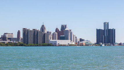 Wall Mural - Skyline of Detroit, Michigan from Riverfront Trail, Windsor, Ontario.