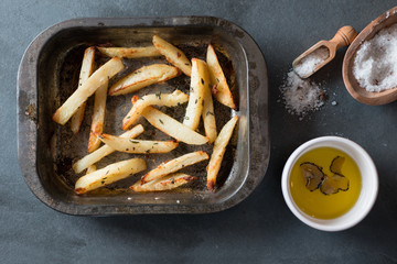 Overhead of Cooked Fries in Baking Tray