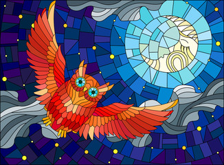 Illustration in stained glass style with fabulous red owl and moon on background night star sky and clouds