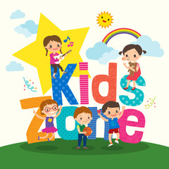 Group of young children with kids zone word cartoon illustration