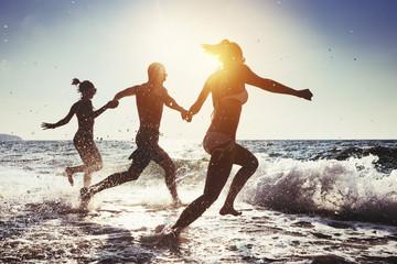 Happy friends beach sunny sea