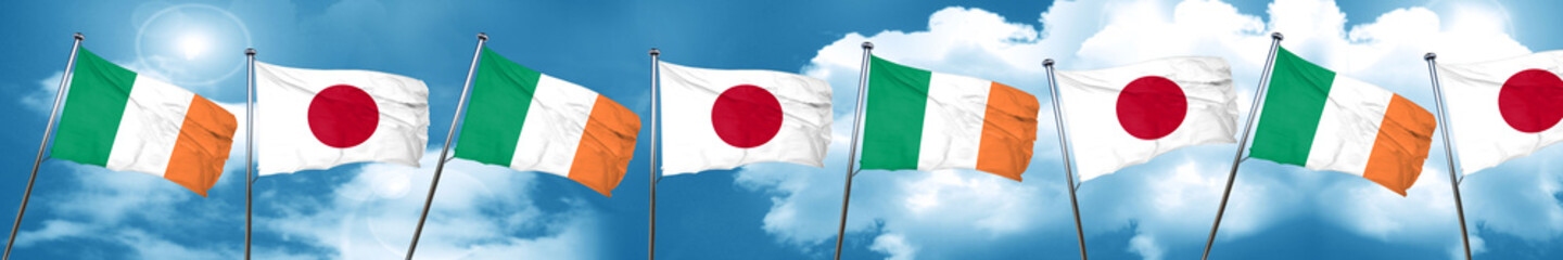 Ireland flag with Japan flag, 3D rendering