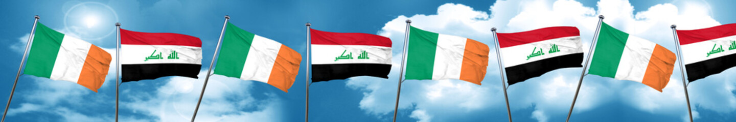 Ireland flag with Iraq flag, 3D rendering