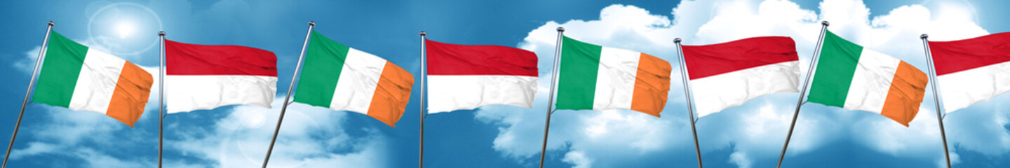 Ireland flag with Indonesia flag, 3D rendering
