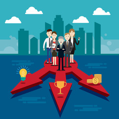 Group business people three-way Vector illustration