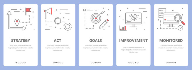 Vector set of thin line flat design action plan concept banners