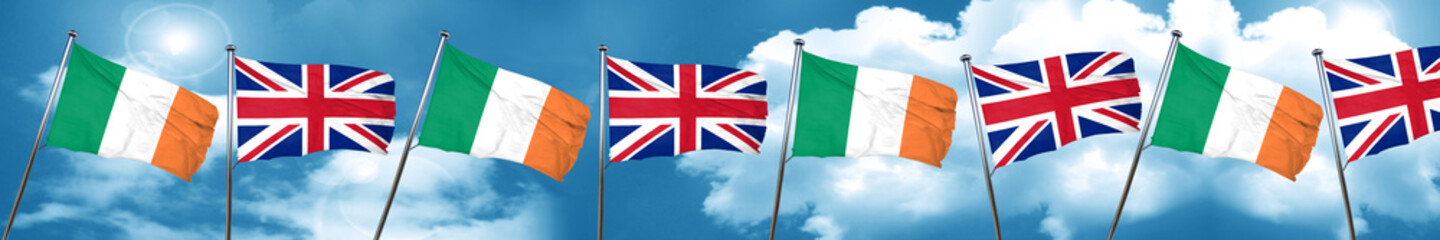Ireland flag with Great Britain flag, 3D rendering